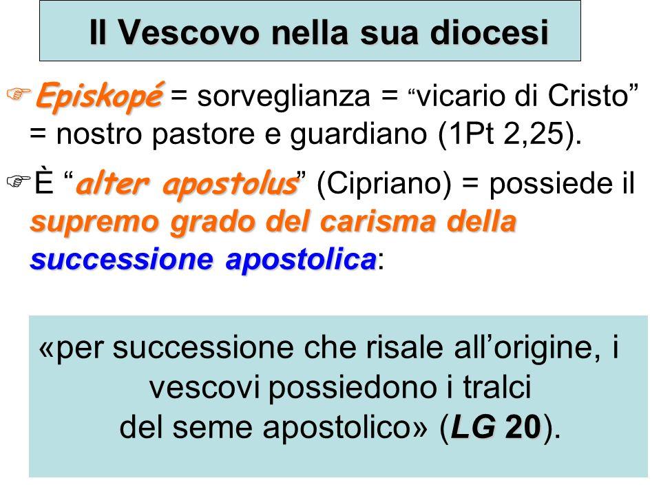 Il Vescovo nella sua diocesi Episkopé Episkopé = sorveglianza = vicario di Cristo = nostro pastore e guardiano (1Pt 2,25).