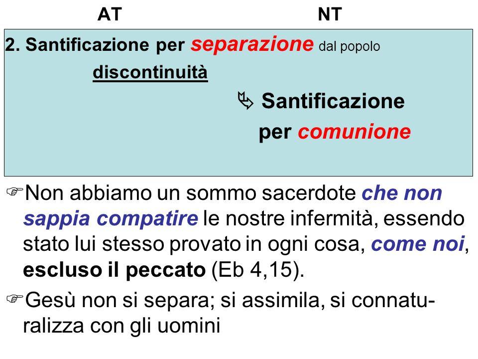 AT NT 2. Santificazione per separazione dal popolo discontinuità Santificazione per comunione Non abbiamo un sommo sacerdote che non sappia compatire