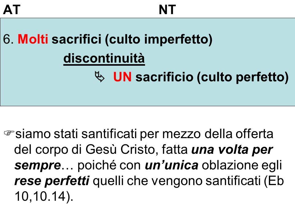 AT NT 6. Molti sacrifici (culto imperfetto) discontinuità UN sacrificio (culto perfetto) siamo stati santificati per mezzo della offerta del corpo di