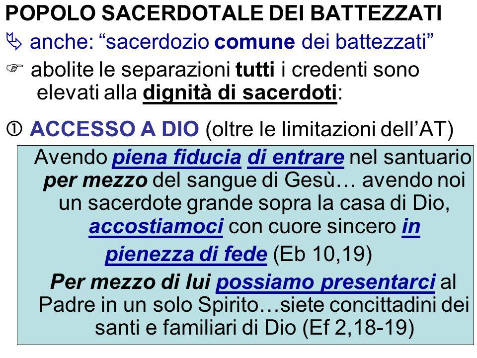 POPOLO SACERDOTALE DEI BATTEZZATI anche: sacerdozio comune dei battezzati abolite le separazioni tutti i credenti sono elevati alla dignità di sacerdo