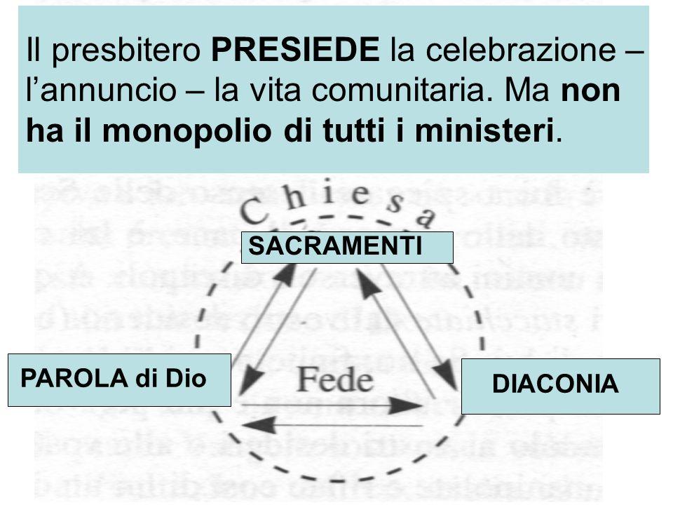 DIACONIA SACRAMENTI PAROLA di Dio Il presbitero PRESIEDE la celebrazione – lannuncio – la vita comunitaria. Ma non ha il monopolio di tutti i minister