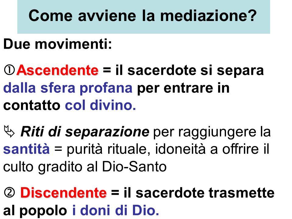 Come avviene la mediazione? Due movimenti: Ascendente Ascendente = il sacerdote si separa dalla sfera profana per entrare in contatto col divino. Riti