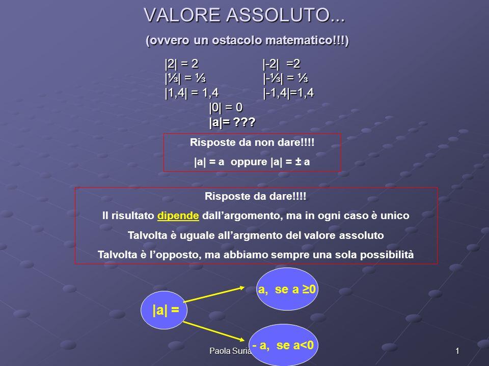 1Paola Suria Arnaldi VALORE ASSOLUTO... (ovvero un ostacolo matematico!!!) |2| = 2|-2| =2 || = |-| = || = |-| = |1,4| = 1,4 |-1,4|=1,4 |0| = 0 |0| = 0