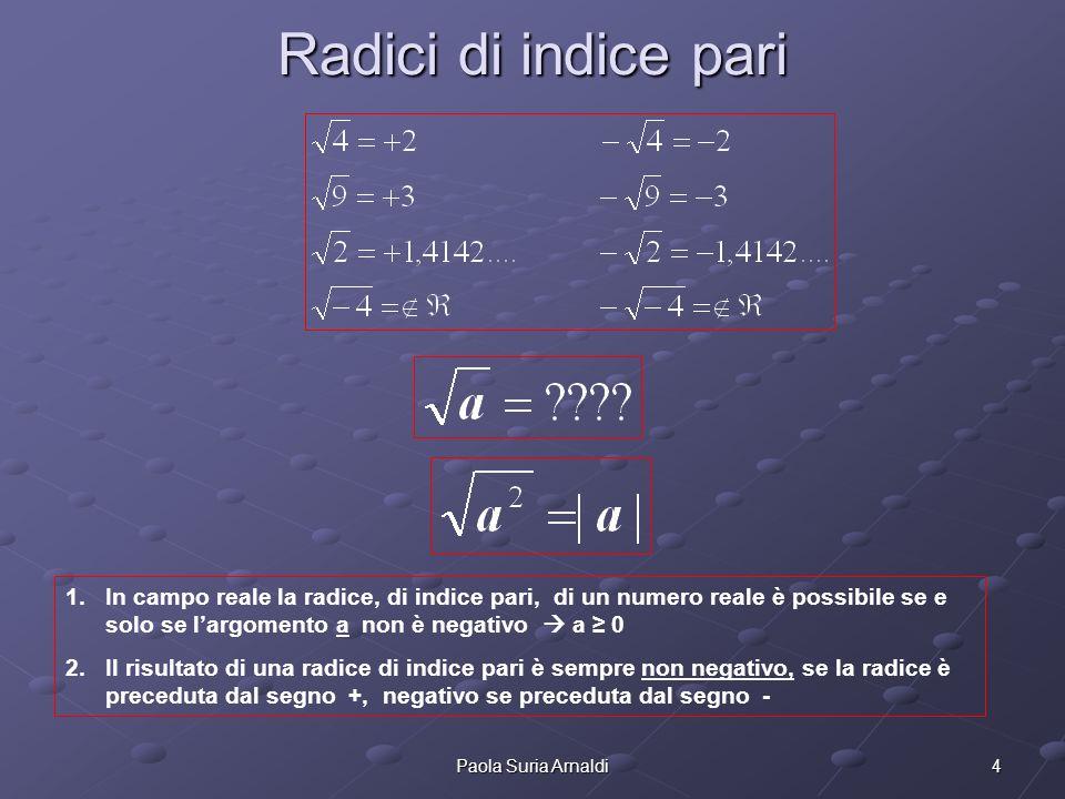 4Paola Suria Arnaldi Radici di indice pari 1.In campo reale la radice, di indice pari, di un numero reale è possibile se e solo se largomento a non è