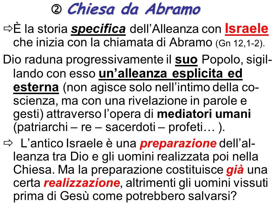 Chiesa da Abramo Chiesa da Abramo È la storia specifica dellAlleanza con Israele che inizia con la chiamata di Abramo (Gn 12,1-2).