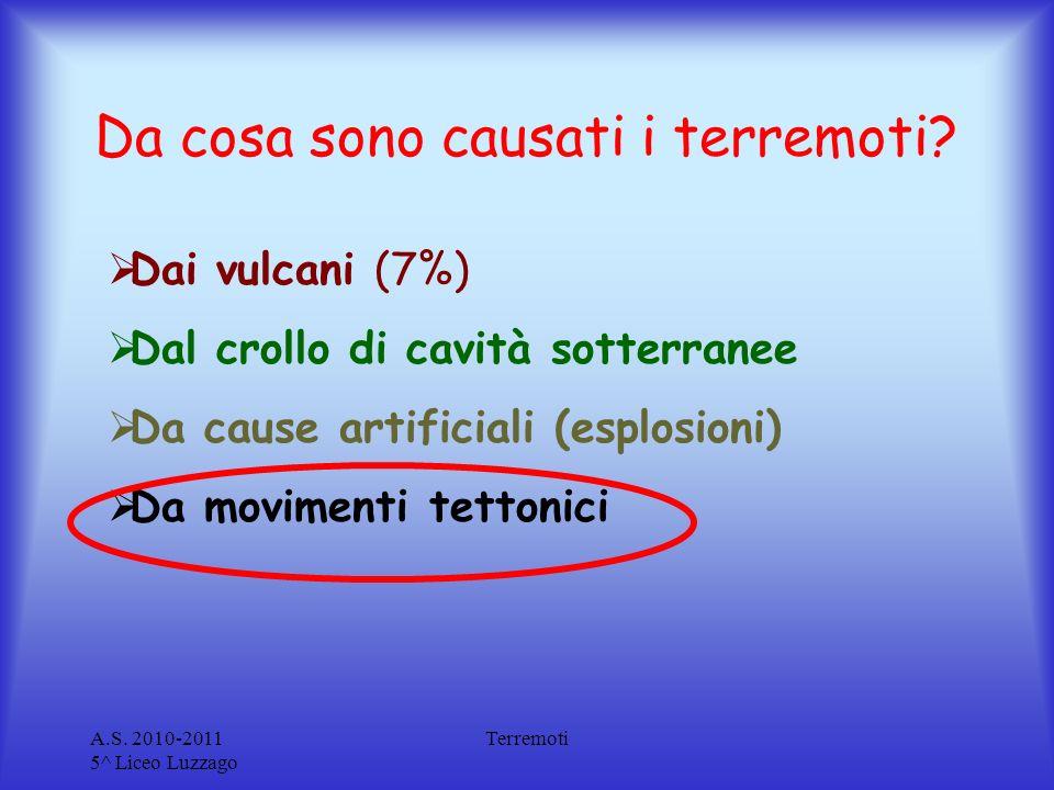 A.S. 2010-2011 5^ Liceo Luzzago Terremoti Da cosa sono causati i terremoti? Dai vulcani (7%) Dal crollo di cavità sotterranee Da cause artificiali (es