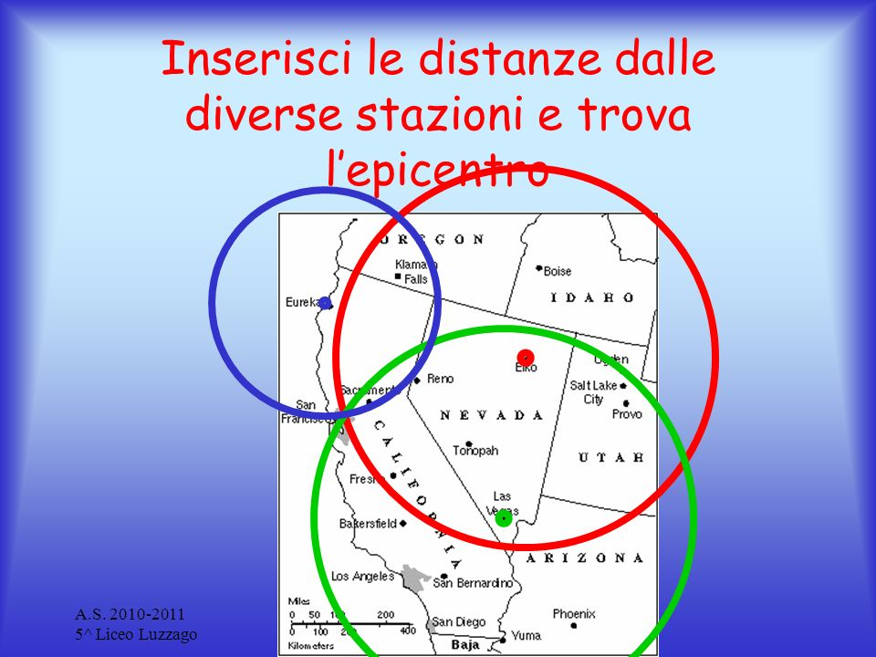 A.S. 2010-2011 5^ Liceo Luzzago Terremoti Inserisci le distanze dalle diverse stazioni e trova lepicentro