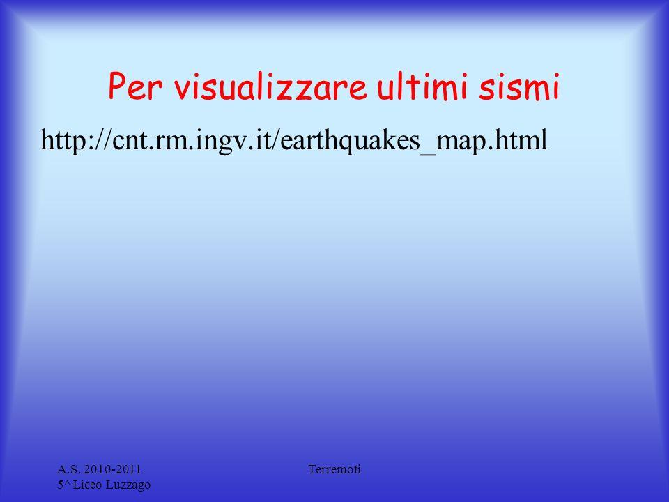 Per visualizzare ultimi sismi A.S. 2010-2011 5^ Liceo Luzzago Terremoti http://cnt.rm.ingv.it/earthquakes_map.html