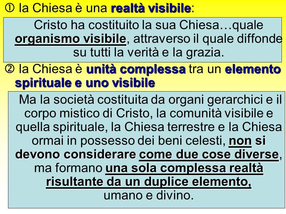 realtà visibile la Chiesa è una realtà visibile: organismo visibile Cristo ha costituito la sua Chiesa…quale organismo visibile, attraverso il quale diffonde su tutti la verità e la grazia.