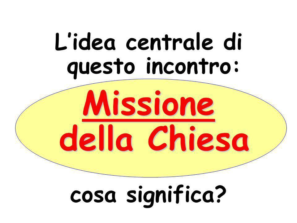 Lidea centrale di questo incontro: Missione della Chiesa cosa significa?