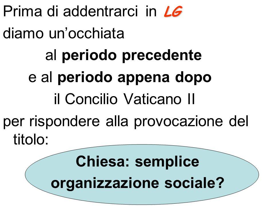 LG Prima di addentrarci in LG diamo unocchiata al periodo precedente e al periodo appena dopo il Concilio Vaticano II per rispondere alla provocazione