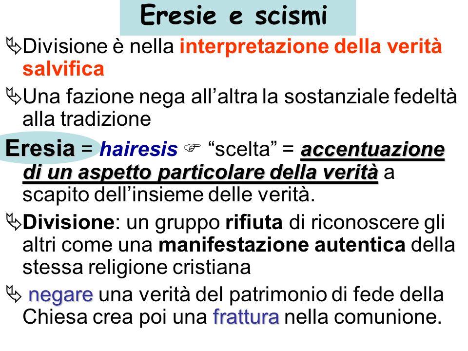 Eresie e scismi Divisione è nella interpretazione della verità salvifica Una fazione nega allaltra la sostanziale fedeltà alla tradizione Eresia accen