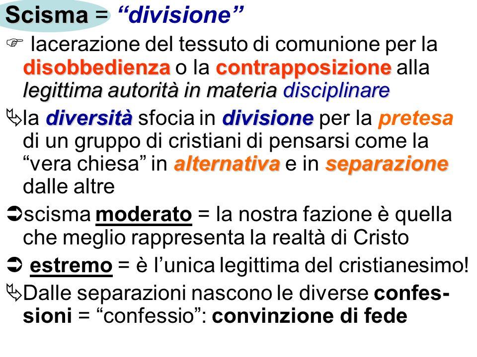 Scisma Scisma = divisione disobbedienzacontrapposizione legittima autorità in materia disciplinare lacerazione del tessuto di comunione per la disobbe
