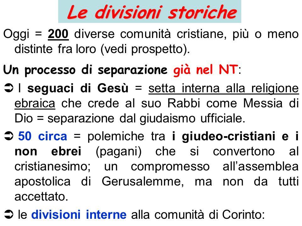 Le divisioni storiche Oggi = 200 diverse comunità cristiane, più o meno distinte fra loro (vedi prospetto). Un processo di separazione già nel NT : I