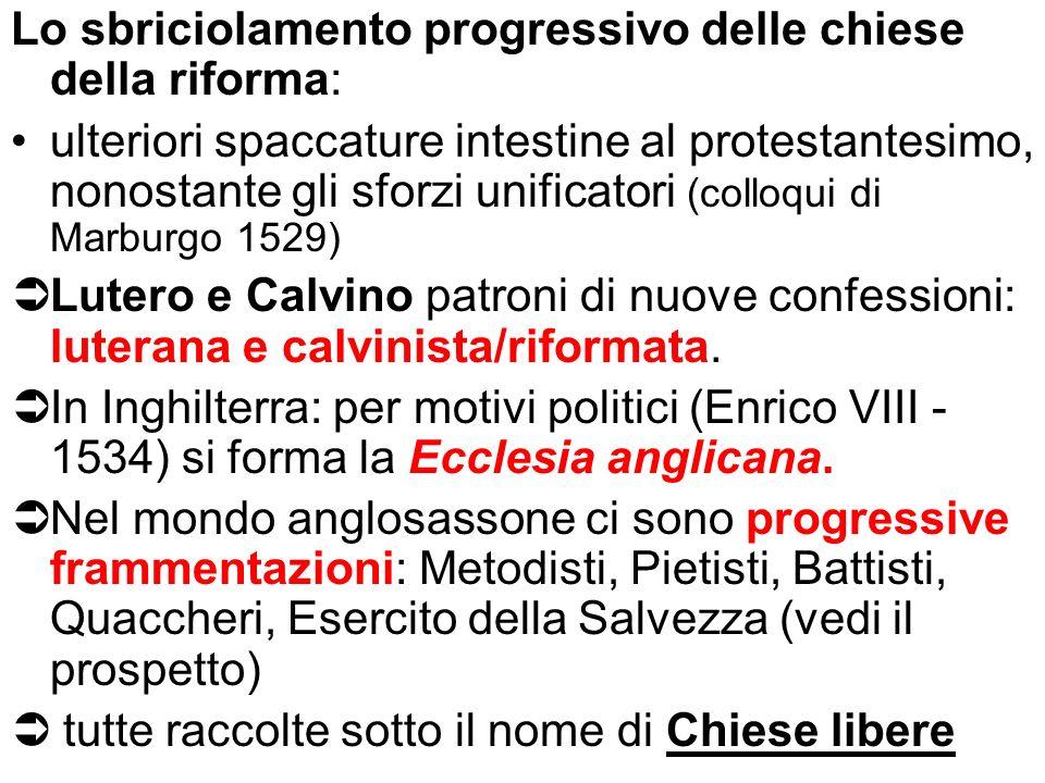 Lo sbriciolamento progressivo delle chiese della riforma: ulteriori spaccature intestine al protestantesimo, nonostante gli sforzi unificatori (colloq