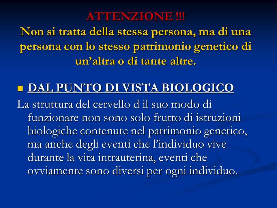 ATTENZIONE !!! Non si tratta della stessa persona, ma di una persona con lo stesso patrimonio genetico di unaltra o di tante altre. DAL PUNTO DI VISTA