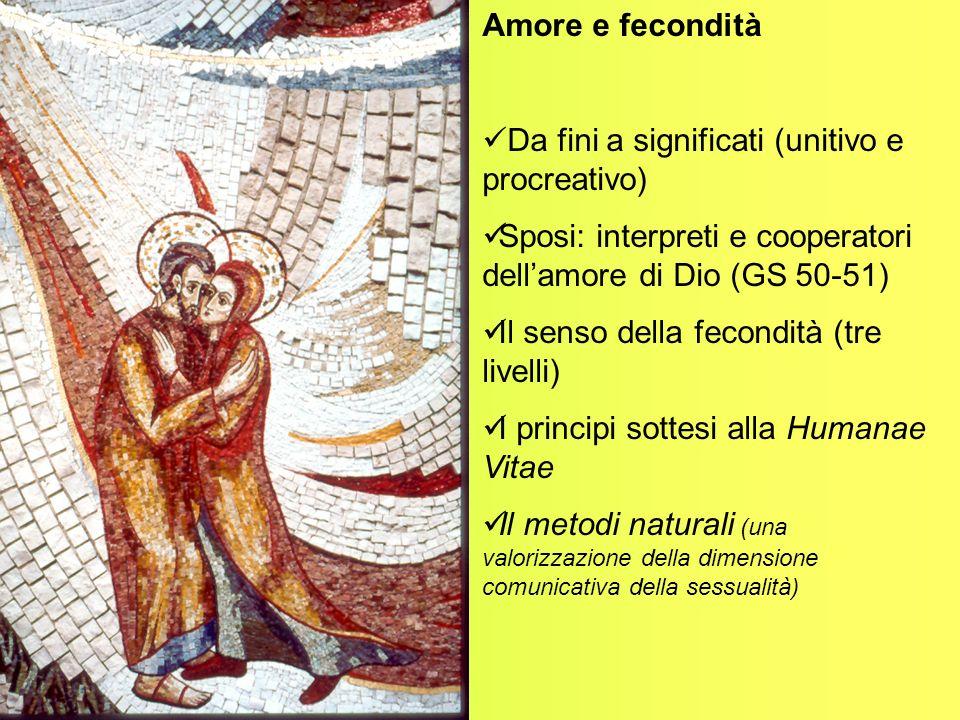 Amore e fecondità Da fini a significati (unitivo e procreativo) Sposi: interpreti e cooperatori dellamore di Dio (GS 50-51) Il senso della fecondità (