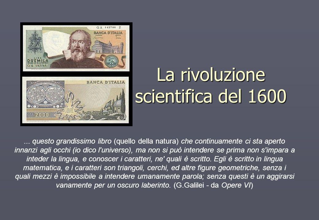 La rivoluzione scientifica del 1600... questo grandissimo libro (quello della natura) che continuamente ci sta aperto innanzi agli occhi (io dico l'un