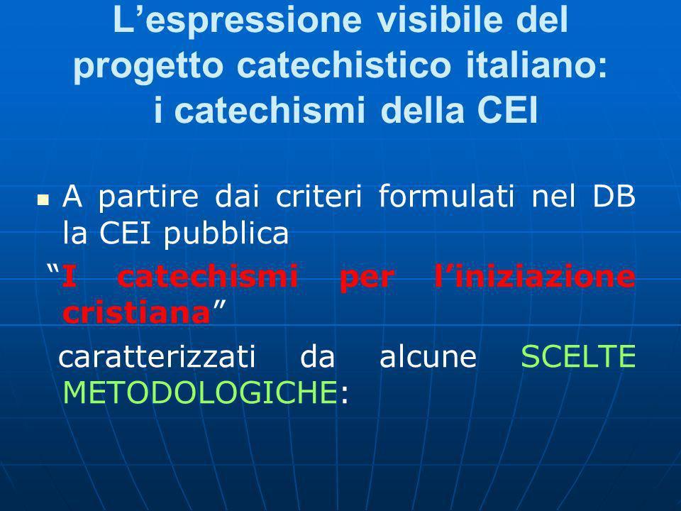 Lespressione visibile del progetto catechistico italiano: i catechismi della CEI A partire dai criteri formulati nel DB la CEI pubblica I catechismi per liniziazione cristiana caratterizzati da alcune SCELTE METODOLOGICHE: