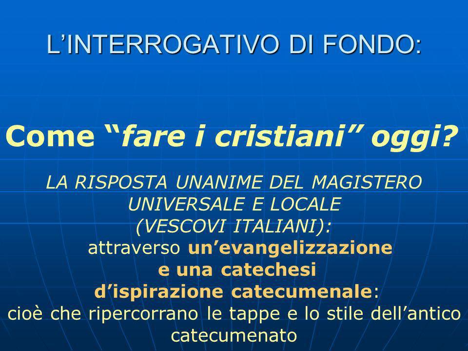 LINTERROGATIVO DI FONDO: Come fare i cristiani oggi.