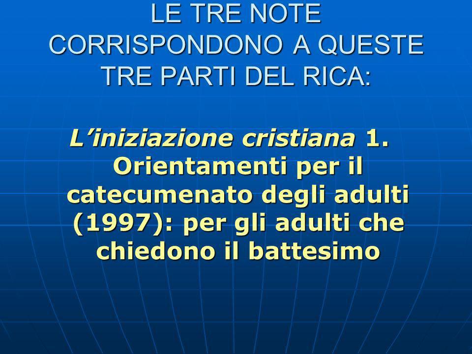 LE TRE NOTE CORRISPONDONO A QUESTE TRE PARTI DEL RICA: Liniziazione cristiana 1.