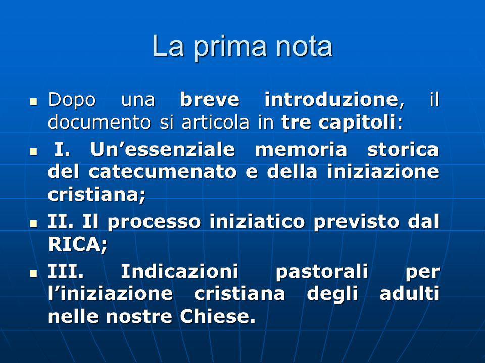 La prima nota Dopo una breve introduzione, il documento si articola in tre capitoli: Dopo una breve introduzione, il documento si articola in tre capitoli: I.
