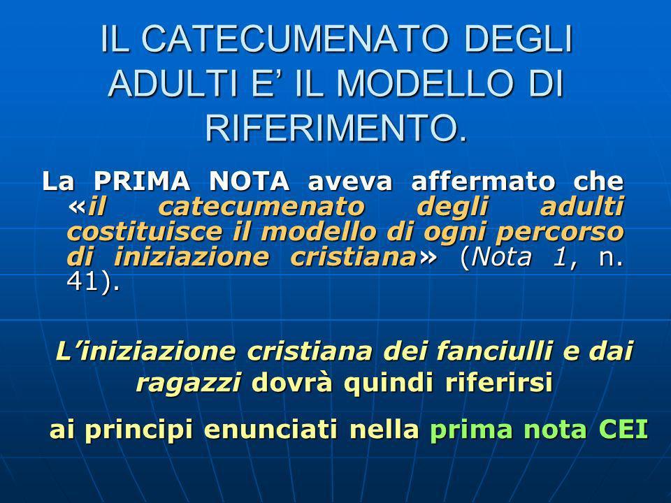 IL CATECUMENATO DEGLI ADULTI E IL MODELLO DI RIFERIMENTO.