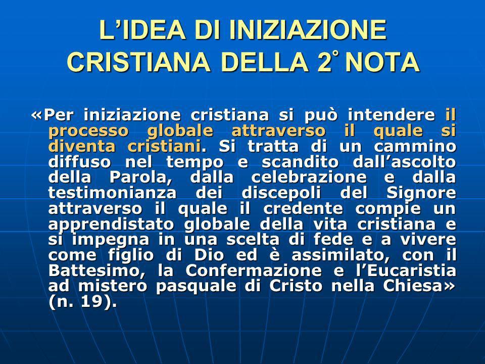 LIDEA DI INIZIAZIONE CRISTIANA DELLA 2 ° NOTA «Per iniziazione cristiana si può intendere il processo globale attraverso il quale si diventa cristiani.