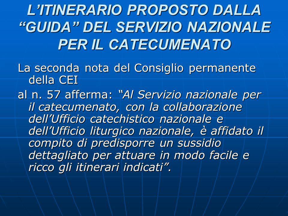LITINERARIO PROPOSTO DALLA GUIDA DEL SERVIZIO NAZIONALE PER IL CATECUMENATO La seconda nota del Consiglio permanente della CEI al n.