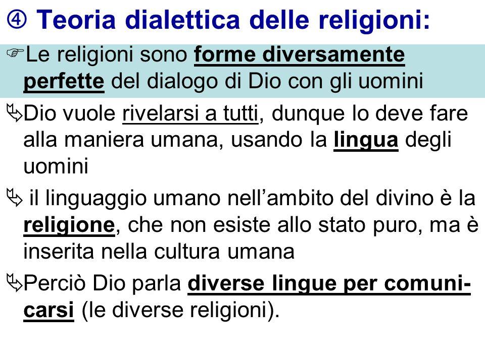 Teoria dialettica delle religioni: Le religioni sono forme diversamente perfette del dialogo di Dio con gli uomini Dio vuole rivelarsi a tutti, dunque