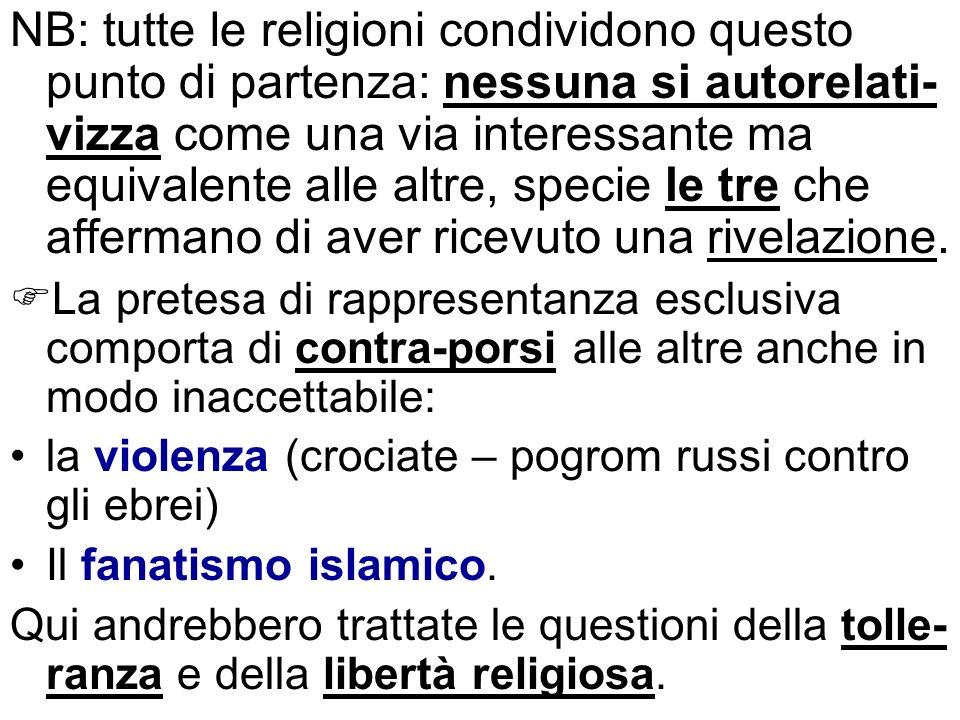 NB: tutte le religioni condividono questo punto di partenza: nessuna si autorelati- vizza come una via interessante ma equivalente alle altre, specie