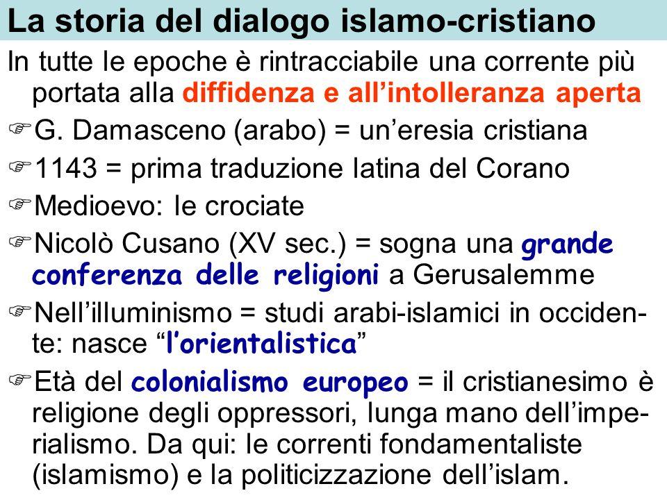 La storia del dialogo islamo-cristiano In tutte le epoche è rintracciabile una corrente più portata alla diffidenza e allintolleranza aperta G. Damasc