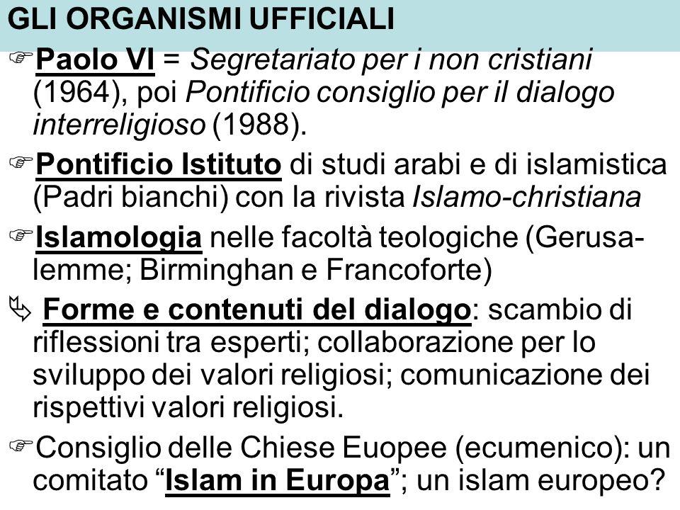 GLI ORGANISMI UFFICIALI Paolo VI = Segretariato per i non cristiani (1964), poi Pontificio consiglio per il dialogo interreligioso (1988). Pontificio