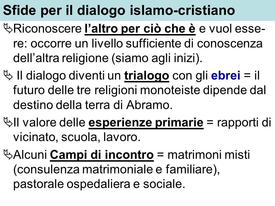 Sfide per il dialogo islamo-cristiano Riconoscere laltro per ciò che è e vuol esse- re: occorre un livello sufficiente di conoscenza dellaltra religio