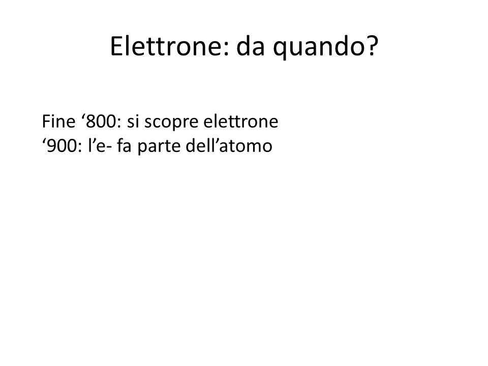 Elettrone: da quando? Fine 800: si scopre elettrone 900: le- fa parte dellatomo