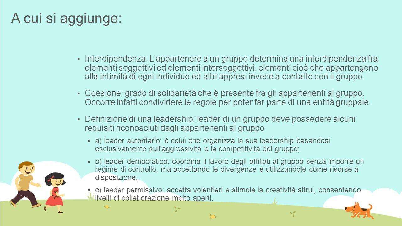 A cui si aggiunge: Interdipendenza: Lappartenere a un gruppo determina una interdipendenza fra elementi soggettivi ed elementi intersoggettivi, elemen
