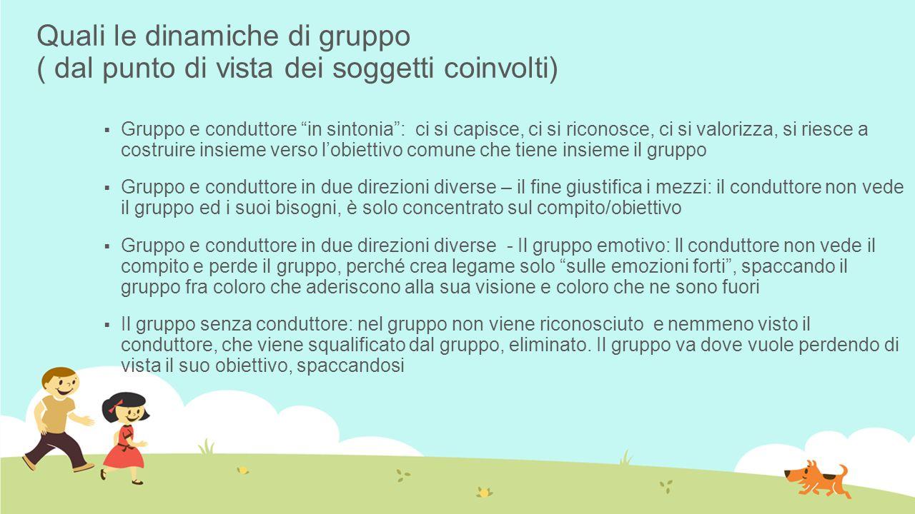 Quali le dinamiche di gruppo ( dal punto di vista dei soggetti coinvolti) Gruppo e conduttore in sintonia: ci si capisce, ci si riconosce, ci si valor