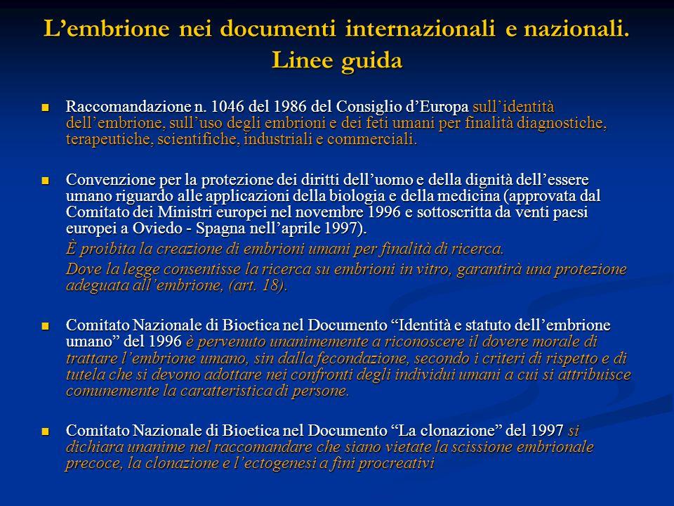Lembrione nei documenti internazionali e nazionali. Linee guida Raccomandazione n. 1046 del 1986 del Consiglio dEuropa sullidentità dellembrione, sull