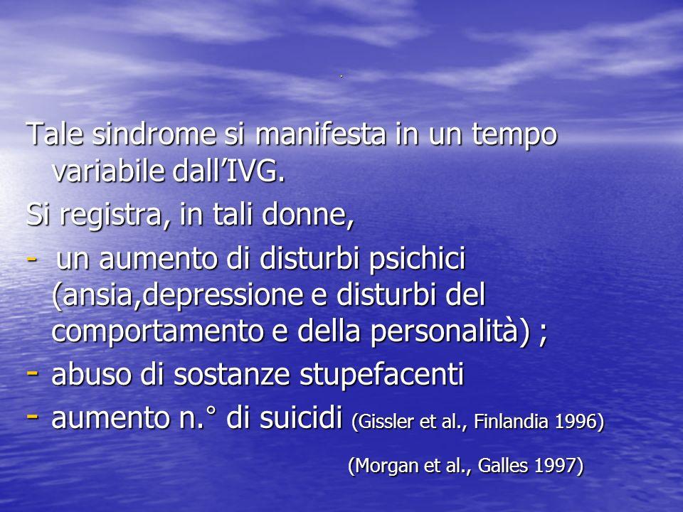 Tale sindrome si manifesta in un tempo variabile dallIVG.