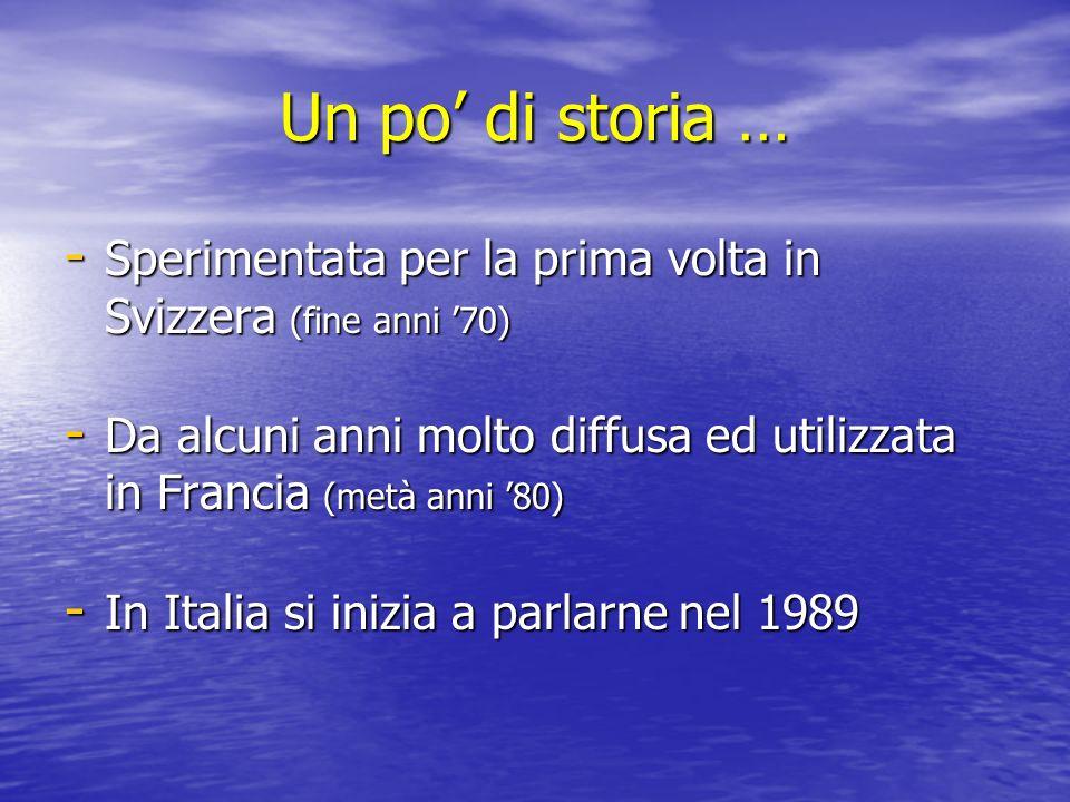 Un po di storia … - Sperimentata per la prima volta in Svizzera (fine anni 70) - Da alcuni anni molto diffusa ed utilizzata in Francia (metà anni 80) - In Italia si inizia a parlarne nel 1989