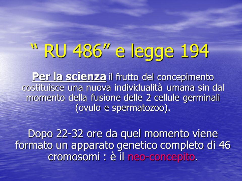 RU 486 e legge 194 RU 486 e legge 194 Per la scienza il frutto del concepimento costituisce una nuova individualità umana sin dal momento della fusione delle 2 cellule germinali (ovulo e spermatozoo).