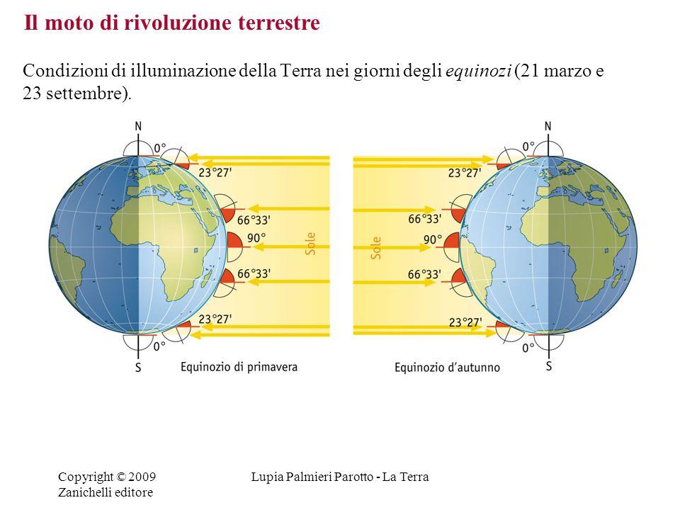 Copyright © 2009 Zanichelli editore Lupia Palmieri Parotto - La Terra Condizioni di illuminazione della Terra nei giorni degli equinozi (21 marzo e 23