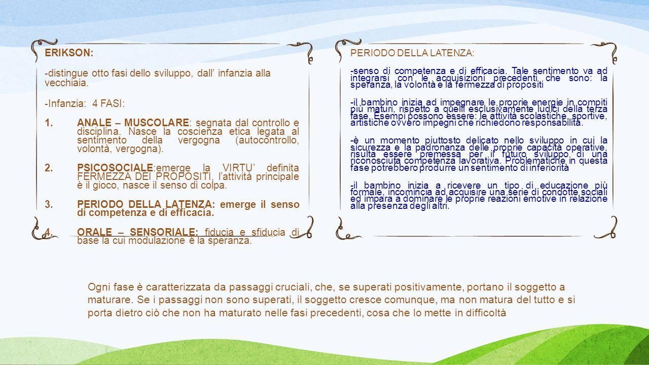 ERIKSON: -distingue otto fasi dello sviluppo, dall infanzia alla vecchiaia. -Infanzia: 4 FASI: 1.ANALE – MUSCOLARE: segnata dal controllo e disciplina