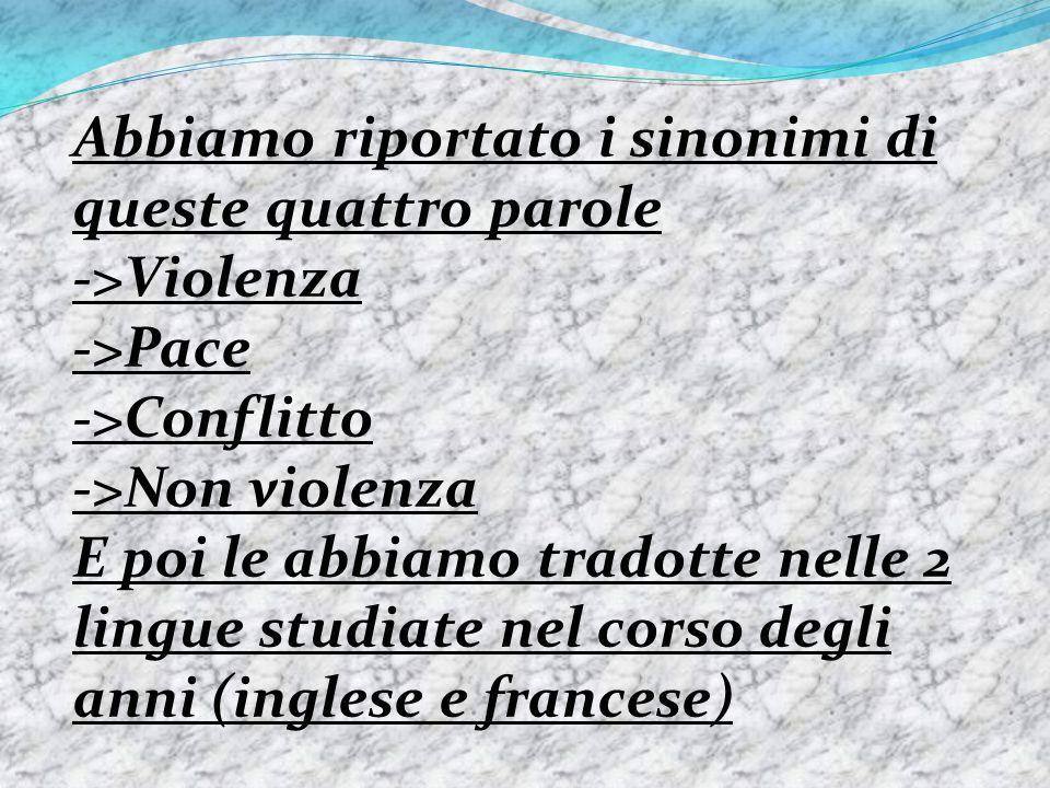 Abbiamo riportato i sinonimi di queste quattro parole ->Violenza ->Pace ->Conflitto ->Non violenza E poi le abbiamo tradotte nelle 2 lingue studiate n