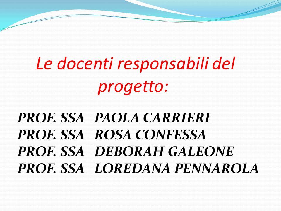Le docenti responsabili del progetto: PROF. SSA PAOLA CARRIERI PROF. SSA ROSA CONFESSA PROF. SSA DEBORAH GALEONE PROF. SSA LOREDANA PENNAROLA