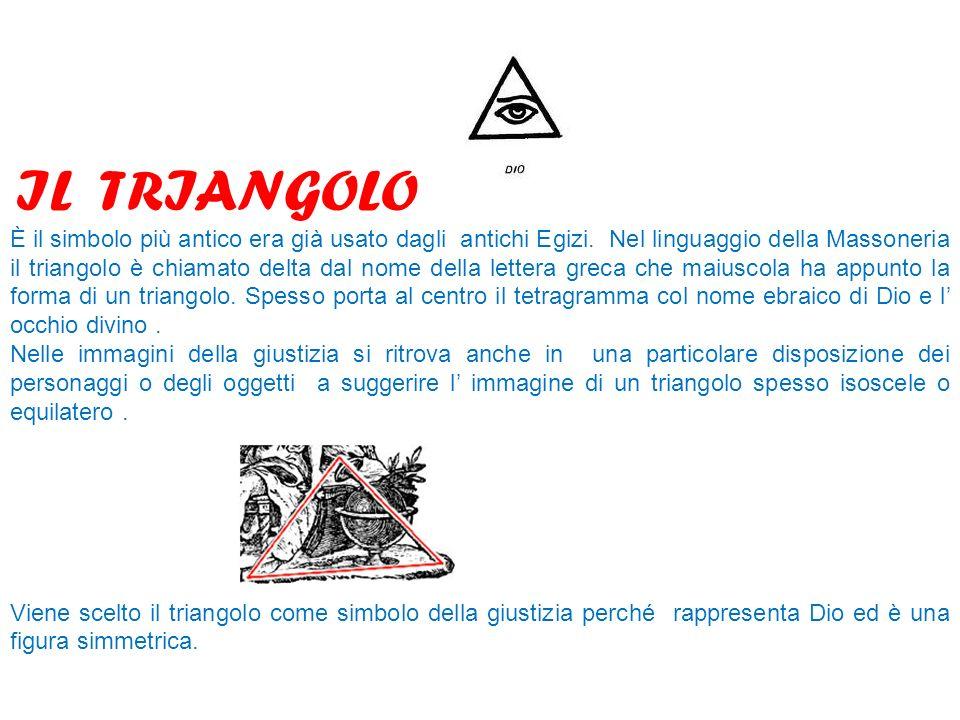 IL TRIANGOLO È il simbolo più antico era già usato dagli antichi Egizi. Nel linguaggio della Massoneria il triangolo è chiamato delta dal nome della l