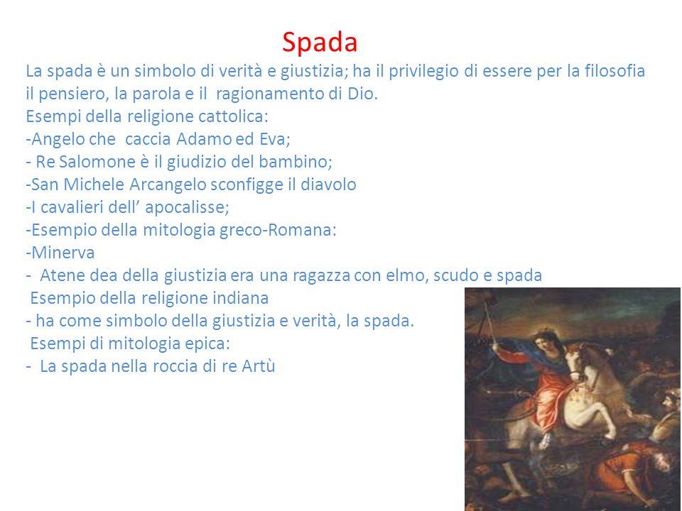 Spada La spada è un simbolo di verità e giustizia; ha il privilegio di essere per la filosofia il pensiero, la parola e il ragionamento di Dio. Esempi