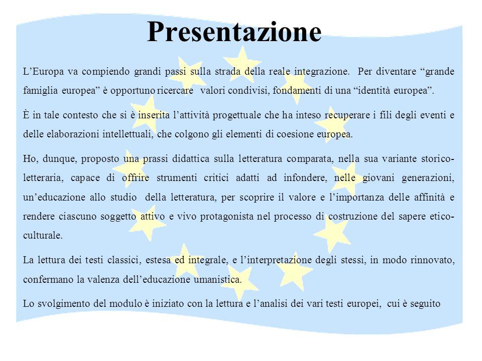 Presentazione LEuropa va compiendo grandi passi sulla strada della reale integrazione. Per diventare grande famiglia europea è opportuno ricercare val