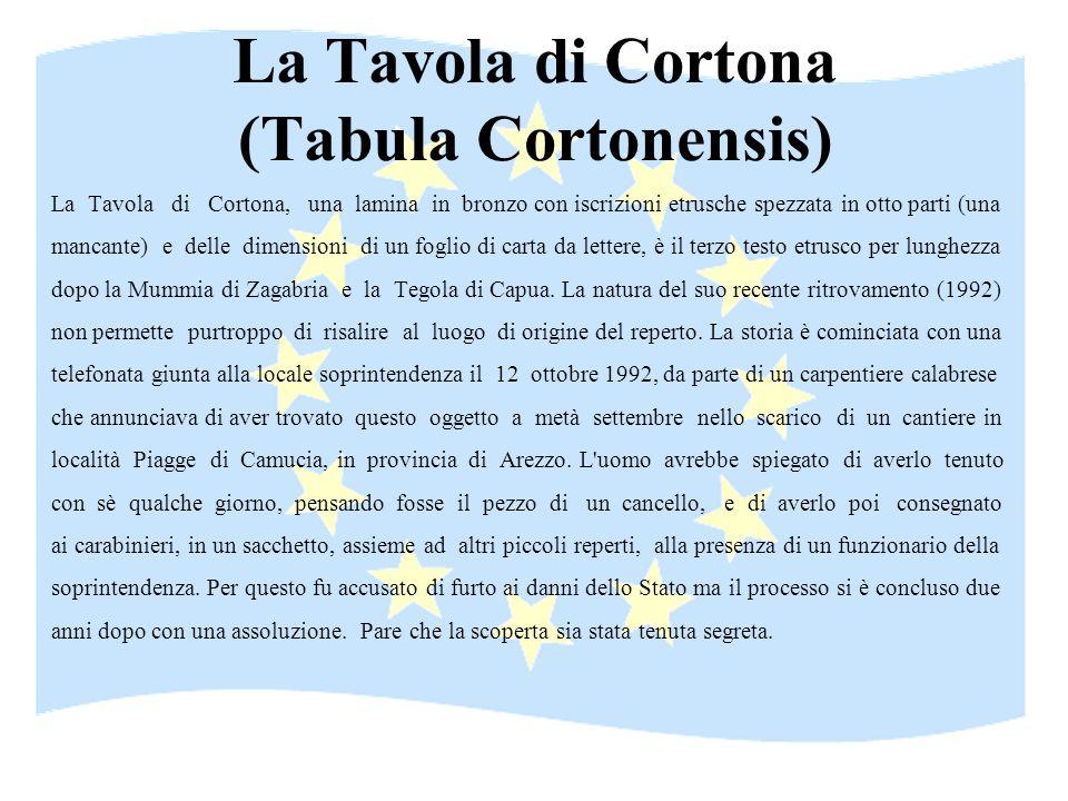 La Tavola di Cortona (Tabula Cortonensis) La Tavola di Cortona, una lamina in bronzo con iscrizioni etrusche spezzata in otto parti (una mancante) e d