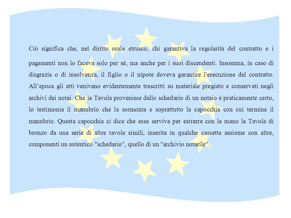 Ciò significa che, nel diritto orale etrusco, chi garantiva la regolarità del contratto e i pagamenti non lo faceva solo per sé, ma anche per i suoi d